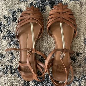 Dolce vita gold and tan sandals